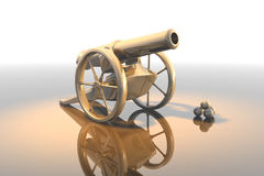 Cannon. Antique artillery cannon, - weapon 3d Royalty Free Stock Photo