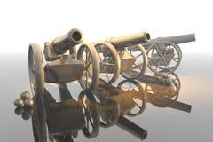 Cannon. Antique artillery cannon, - weapon 3d Stock Image