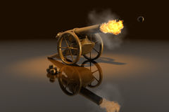 Cannon. Antique artillery cannon, - weapon 3d Stock Image