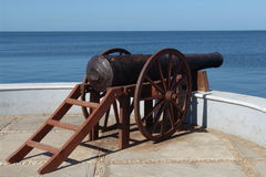 Cannon. A cannon looks out over the Gulf of Mexico from the colonial city of Campeche Royalty Free Stock Photos