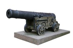 Cannon. Old metal cannon an a white background Stock Photos