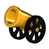 Cannon. Gold cannon 3d rendered for kids Stock Images