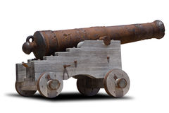 Cannon. Ancient cannon on wheels on white royalty free stock photo