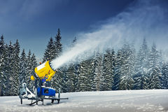 Cannon. Snow cannon in winter mountain stock image