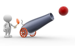 Cannon. 3d people - man, person with a cannon. Gunner Royalty Free Stock Photo