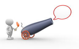Cannon. 3d people - man, person with a cannon and a blank bubble Stock Images