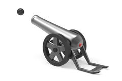 Cannon. Firing with black bomb Royalty Free Stock Photo