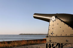 Cannon. A cannon at Fort Clinch, an antebellum military fort on the border of Georgia and Florida stock image