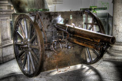 Cannon. The ancient Cannon of the first world war stock photo