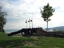 The cannon. Iron cannon in the ruins of middle age fortification overlooking lake Balaton in Hungary royalty free stock images