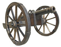 Cannon. Ancient Slovak cannon isolated over white with clipping path Royalty Free Stock Images