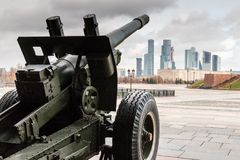 Cannon aimed at Moscow City. Victory Park. Moscow. Russia Royalty Free Stock Image