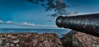 Cannon aiming to the horizon. Canyon aiming to the horizon.Ribadesella.Asturias stock photo