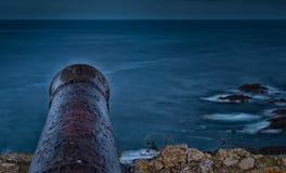 Cannon aiming to the horizon. Canyon aiming to the horizon.Ribadesella.Asturias stock image