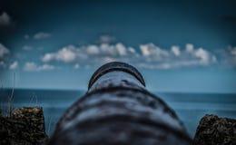 Cannon aiming to the horizon. Canyon aiming to the horizon.Ribadesella.Asturias stock images