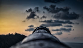 Cannon aiming to the horizon. Canyon aiming to the horizon.Ribadesella.Asturias royalty free stock image
