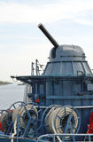 Cannon. Artillery cannon on warship russia Stock Image