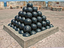 Cannon Balls Fort San Cristobal San Juan Puerto Rico. A photograph of cannon balls on display inside Fort San Cristobal San Juan Puerto Rico Royalty Free Stock Image
