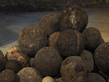 Cannon Balls At Koules Fortress In Heraklion Greece Stock Photo