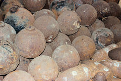 Cannon Balls from the 1800`s. Pile of old 1800's style cannonballs Royalty Free Stock Photos