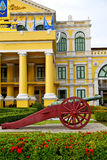 cannon bangkok in flag  garden and temple steet Royalty Free Stock Photo