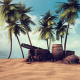 Cannon and barrels on a beach. Pirate cannon and barrels on a beach with palm trees Stock Image