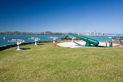 Cannon battery on the top of the hill. Old cannon battery overlooking Auckland harbor royalty free stock photo