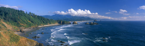 Cannon Beach. Sea Stacks rock formations, Cannon Beach, Oregon royalty free stock photo