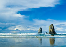 Cannon Beach. Landscape of standings rock on Canon Beach, Oregon Stock Photo