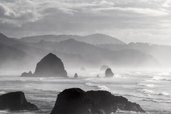 Cannon Beach Black and White Portrait. Cannon Beach along Oregon Coast on a Foggy Day Black and White Portrait Royalty Free Stock Image