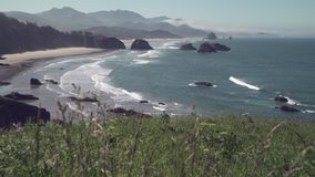 Cannon Beach, Oregon 4K. UHD. Cannon Beach from Ecola State Park, Oregon, United States. 4K UHD stock video footage