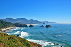 Cannon Beach Oregon. View of Cannon Beach Oregon as seen from Ecola Park looking South Royalty Free Stock Photo