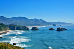 Cannon Beach Oregon. View of Cannon Beach Oregon as seen from Ecola Park looking South Royalty Free Stock Photos