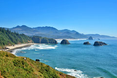 Cannon Beach Oregon. View of Cannon Beach Oregon as seen from Ecola Park looking South Royalty Free Stock Images