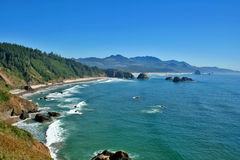 Cannon Beach Oregon. View of Cannon Beach Oregon as seen from Ecola Park looking South Royalty Free Stock Photography
