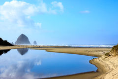 Cannon beach, Oregon on a blue sky day. Cannon beach, Oregon on a sunny fall day Stock Photography