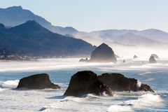 Cannon Beach on the Oregon Coast. Cannon Beach along Oregon Coast in Pacific Ocean royalty free stock images