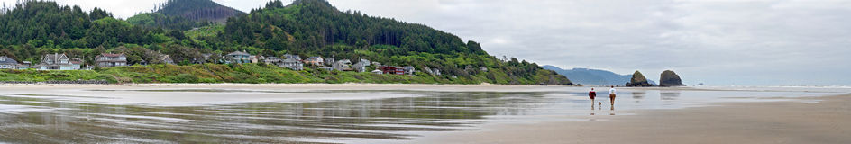 Cannon Beach Oregon Panorama Royalty Free Stock Photo