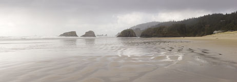 Cannon Beach Oregon Panorama - Romantic Walk Royalty Free Stock Image