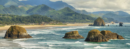 Cannon Beach in Oregon. View of Cannon Beach and Indian beach in Ecola State park Oregon stock image