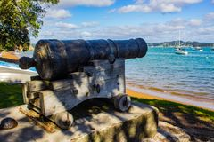 Cannon on the Beach Paihia, New Zealand. Cannon on the beach in Paihia, Northland, New Zealand, Aotearoa Royalty Free Stock Images