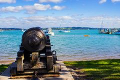 Cannon on the Beach Paihia, New Zealand. Cannon on the beach in Paihia, Northland, New Zealand, Aotearoa Stock Images