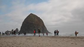 Cannon Beach people hanging out stock video
