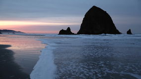 Cannon Beach Sunrise, Haystack Rock stock footage