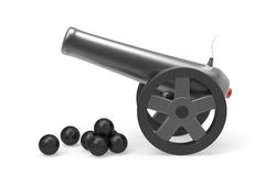 Cannon with black bombs Stock Photo