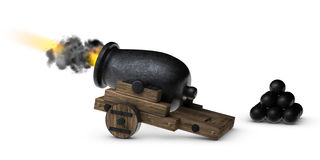 Cannon Blask. Stubby little cannon firing on a white background Royalty Free Stock Images