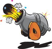 Cannon and bomb. (cannon) Bomb with ignited fuse ready to explode Stock Photo