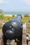 Cannon. A brass cannon looking out to sea Royalty Free Stock Photography