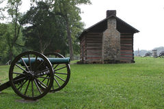 Cannon and Cabin. A historic cabin and civil war era cannon at the Chickamunga - Chattanooga National Military Park in Georgia Stock Image