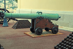 Cannon and cannon balls near Royal Palace, Monaco. Royalty Free Stock Photo